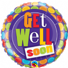 "Get Well Dots Foil Balloon (9"" Air-Fill) 1pc"